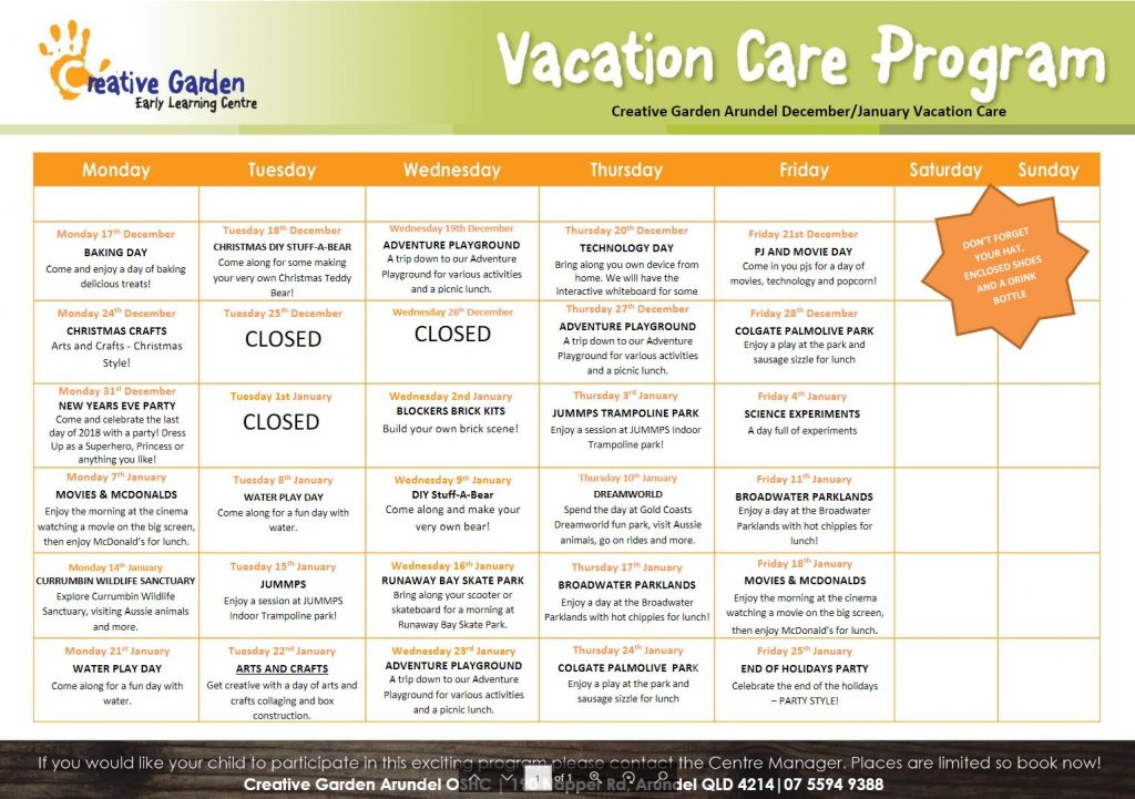 Creative Garden Arundel - Vacation Care Program - Before & After School Day Care