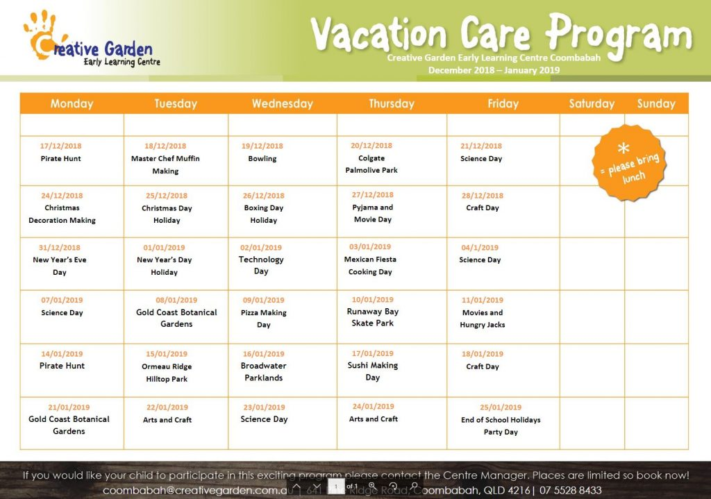 Creative Garden Coombabah - Vacation Care Program - Before & After School Day Care